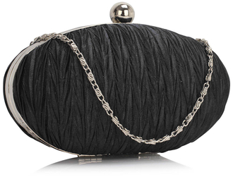 LSE00315 - Black Ruched Satin Clutch