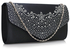 LSE00300 -  Navy Diamante Flap Clutch purse