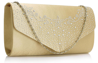 LSE00300 -  Wholesale & B2B Nude Diamante Flap Clutch purse Supplier & Manufacturer