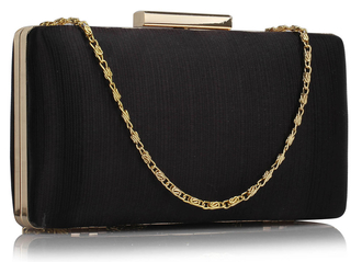 LSE00314 - Black Satin Clutch Evening Bag