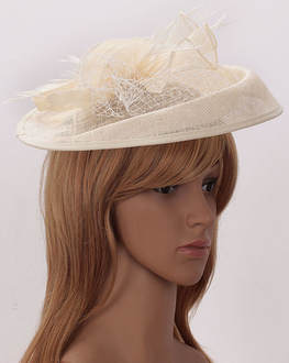 LSH00201 - Ivory Mesh Hat Feather Fascinator