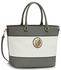 LS00406A - Grey / White Shoulder Handbag