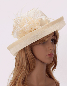 LSH00199 - Ivory Mesh Hat Feather Fascinator