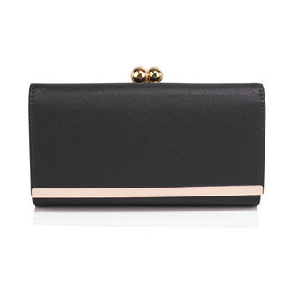 AGP1050A - Black Kiss Lock Clutch Wallet / Purses