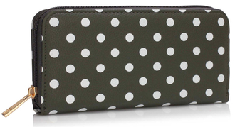 LSP1048 - Grey - Polka Dots Printed zip purse