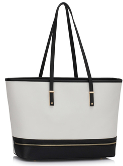 LS00460 - Wholesale & B2B Black /White Zip Detail Large Tote Bag Supplier & Manufacturer
