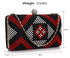 LSE00317 - Black / Red Beaded Rhinestone Clutch Bag