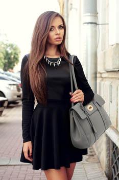 LS00457 - Luxury Black Satchel Grab Shoulder Handbag
