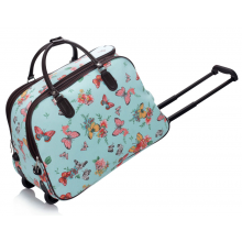 f54bf14b3b0a6 AGT00309C - Blue Butterfly Print Travel Holdall Trolley Luggage With Wheels  - CABIN APPROVED