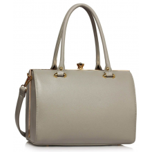 LS00510 - Grey Structured Metal Frame Top Handbag 6d8a760863d17